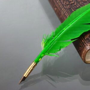 Green Turkey Feather Quill Pen