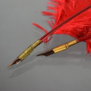 Red Ostrich Feather Quill Pen