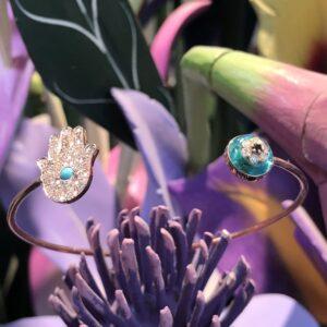 14 Karat Rose Gold Bracelet Featuring Diamond Hamsa and Protective Eye in Turquoise and Diamonds