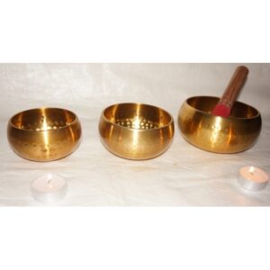 Brass Singing Bowl spotted 3 pc set