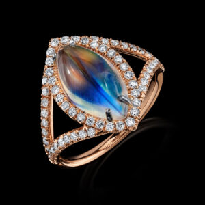 Evil Eye Moonstone Diamond Ring (Available on line only.)