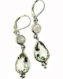 Green Amethyst Moonstone Drop Earring Set