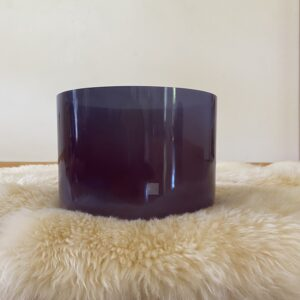 """9"""" Amethyst Singing Bowl with Circle Rubber Ring Stand and Suede Malle"""
