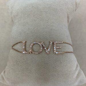 Love Diamond and 14 Karat Gold Bracelet