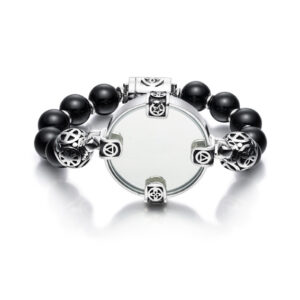 Mirror Bracelet with Onyx Stones on Sterling silver