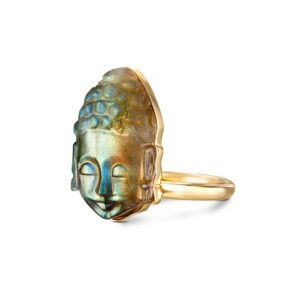 Labradorite Buddha Carved Minimalist Ring
