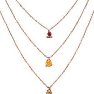 Natural Color Diamonds Anchor each Rose GoldChain Layered Necklace