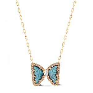 Hand-Carved Tourmaline and Diamond Butterflies