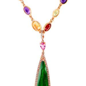 Bi-Color Pear Shape Tourmaline in Rose Gold and Diamond Frame