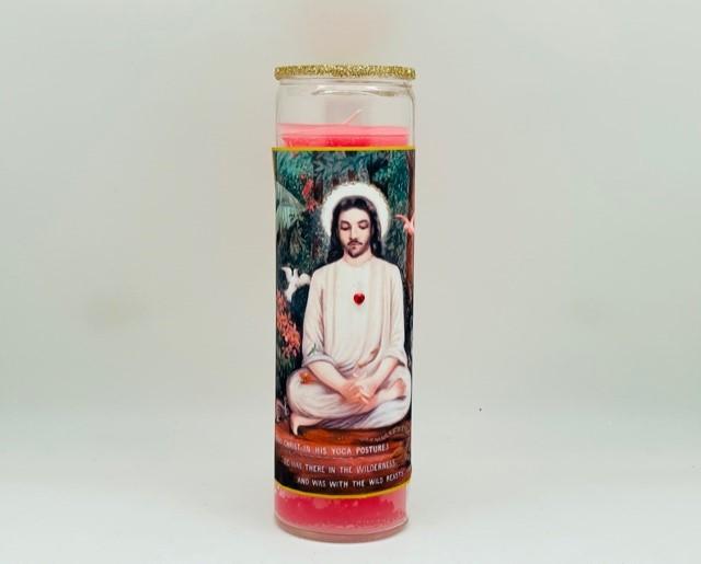 Jesus Lotus Glitter Candle